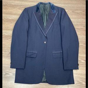 Vintage 1970s Navy Velvet Chesterfield Tux Jacket